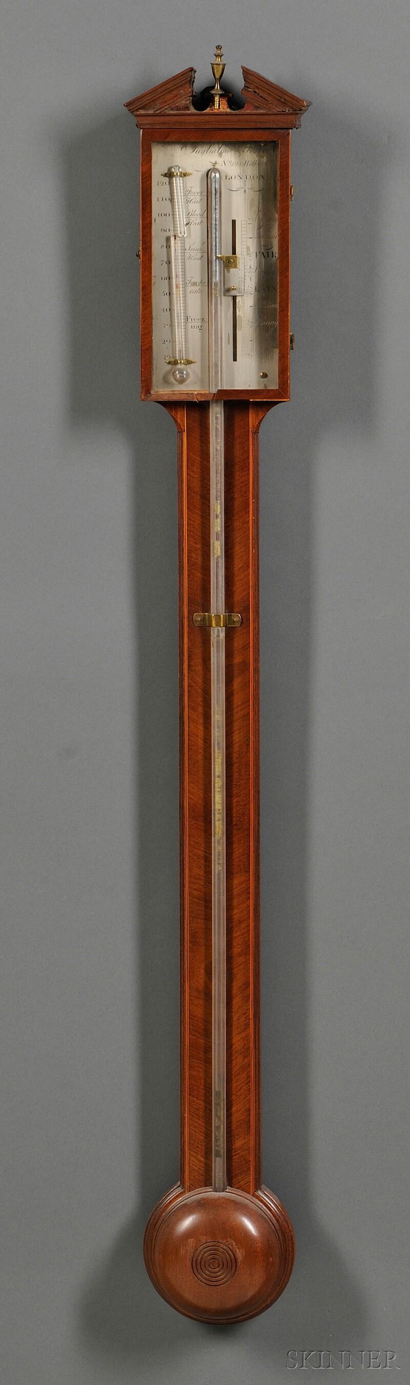 Tagliabue, Torre & Co. Satinwood-inlaid Mahogany Stick Barometer