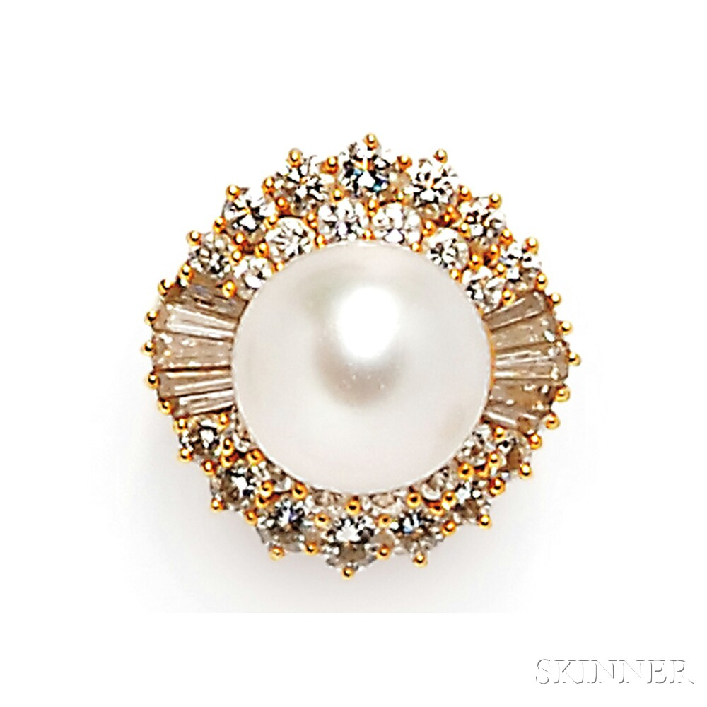 18kt Gold, South Sea Pearl, and Diamond Ring
