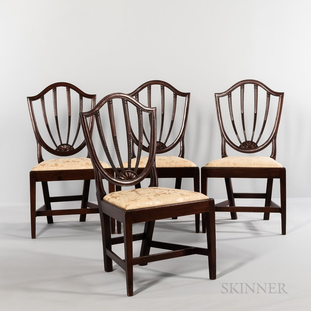 Set of Four Carved Shield-back Side Chairs