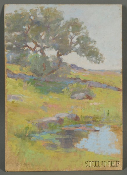 Mary Loring Warner (American, b. 1860)      Spring Landscape with Pond