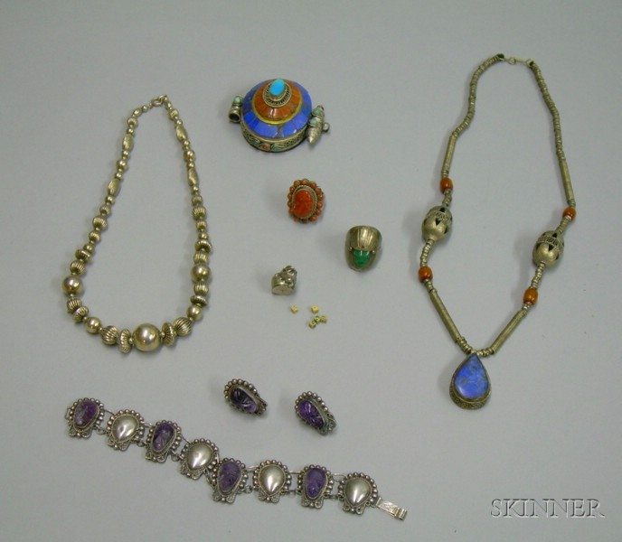 Group of Mexican Sterling and Asian Silver Jewelry