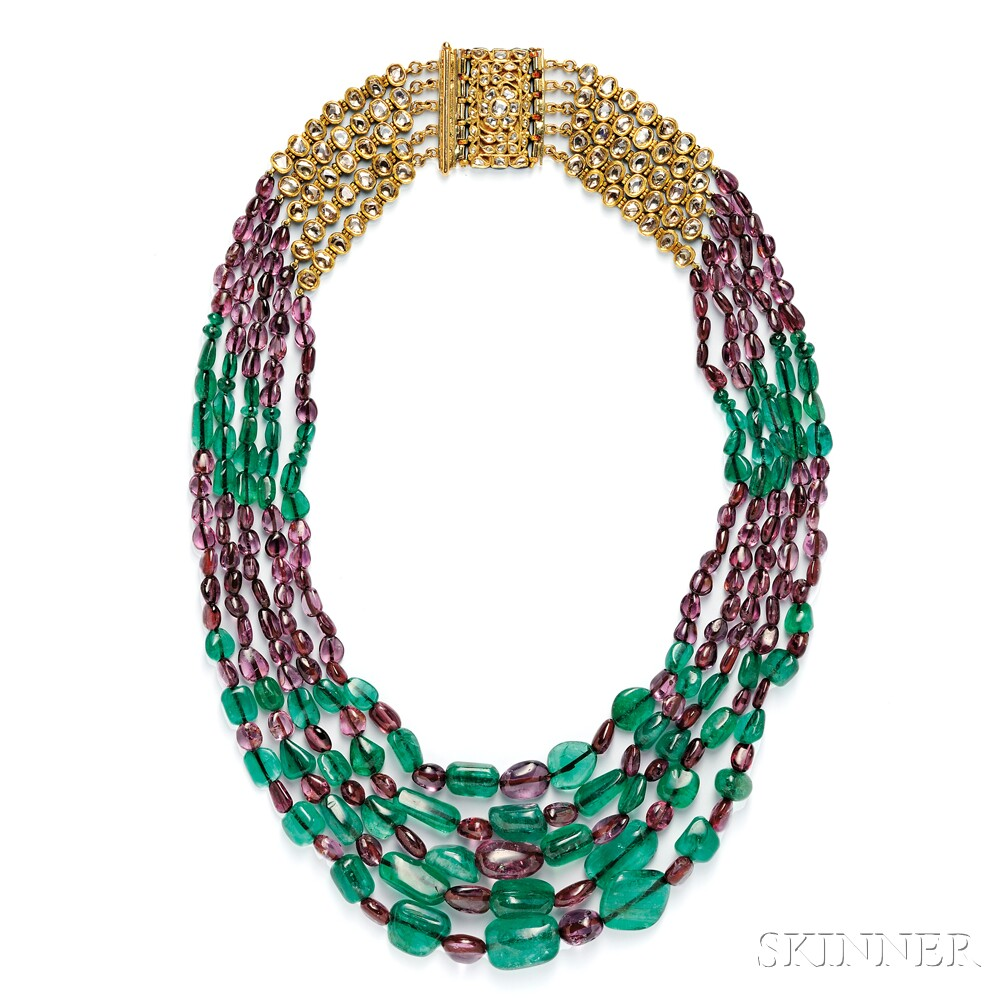 Emerald and Purple Spinel Bead Necklace