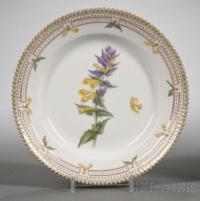 "Set of Twelve Royal Copenhagen Porcelain ""Flora Danica"" Pattern Side Plates"
