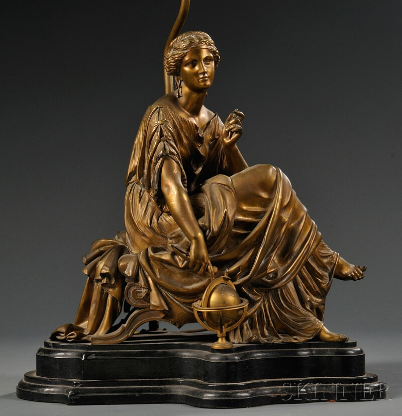 After Pierre-Eugene-Emile Hebert (1828-1893),     Classical-style Bronze Figure of a Woman Seated and Pointing at a Globe