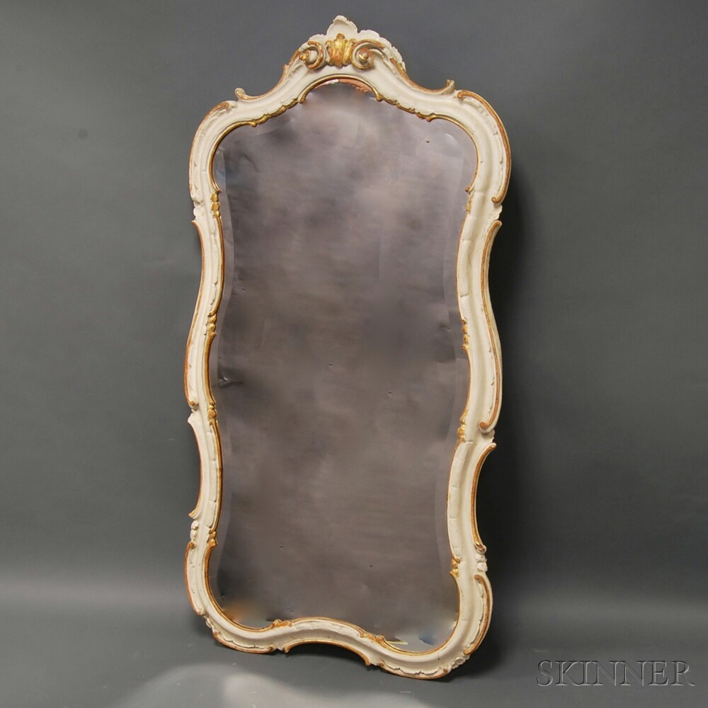 Italian Rococo-style White-painted Parcel-gilt Mirror