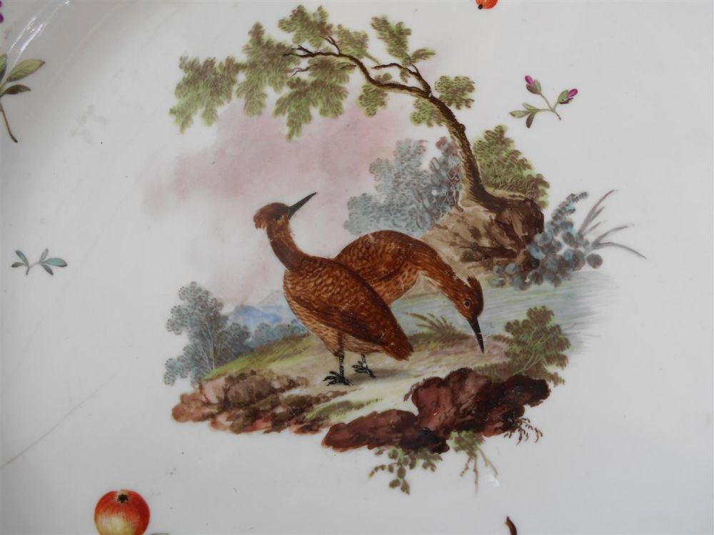 Seven German Porcelain Bird Plates with Three Covered Cups