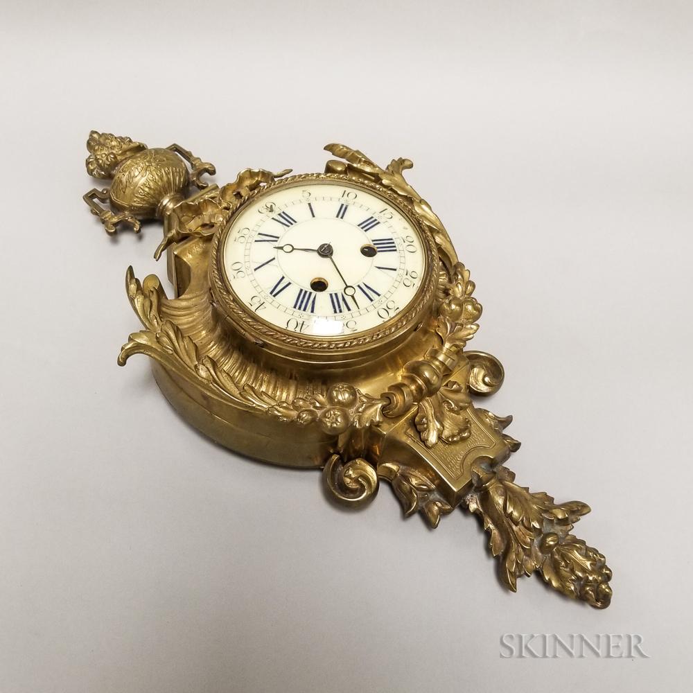 Gilt-brass Cartel Wall Clock