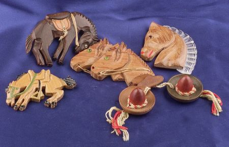 Four Painted Wood Carved Horse Brooches