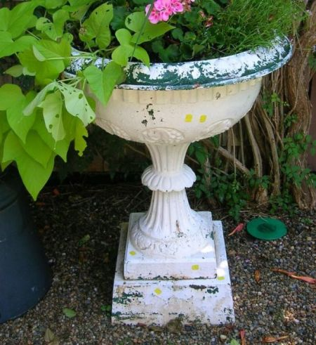 White Painted Cast Iron Grapevine Decorated Garden Urn with Pedestal Base