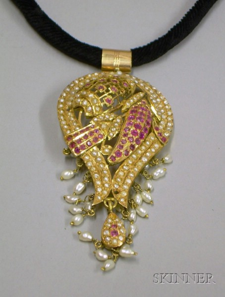 Gold, Ruby, and Pearl Pendant, India