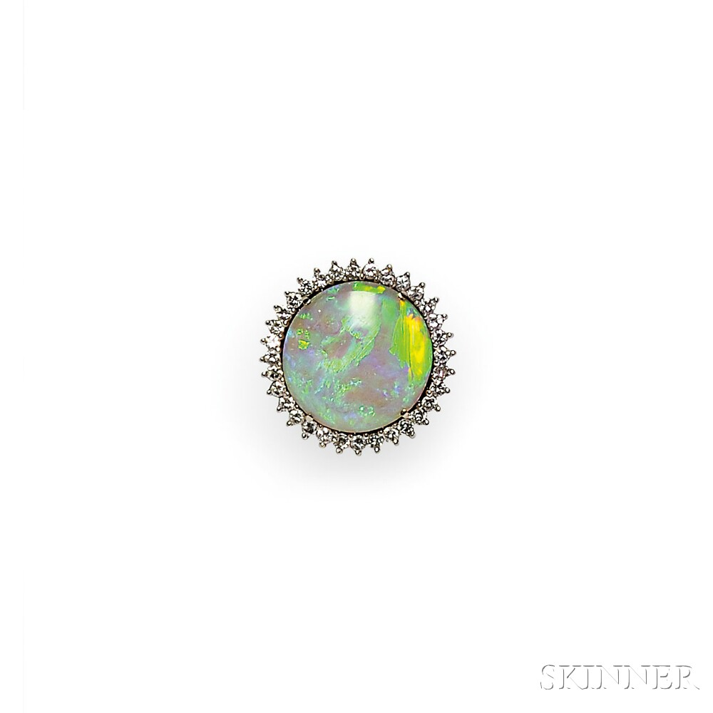 14kt White Gold, Opal, and Diamond Ring