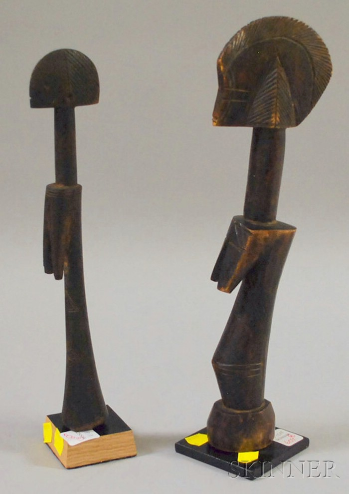 Two Carved Wooden Mossi Dolls