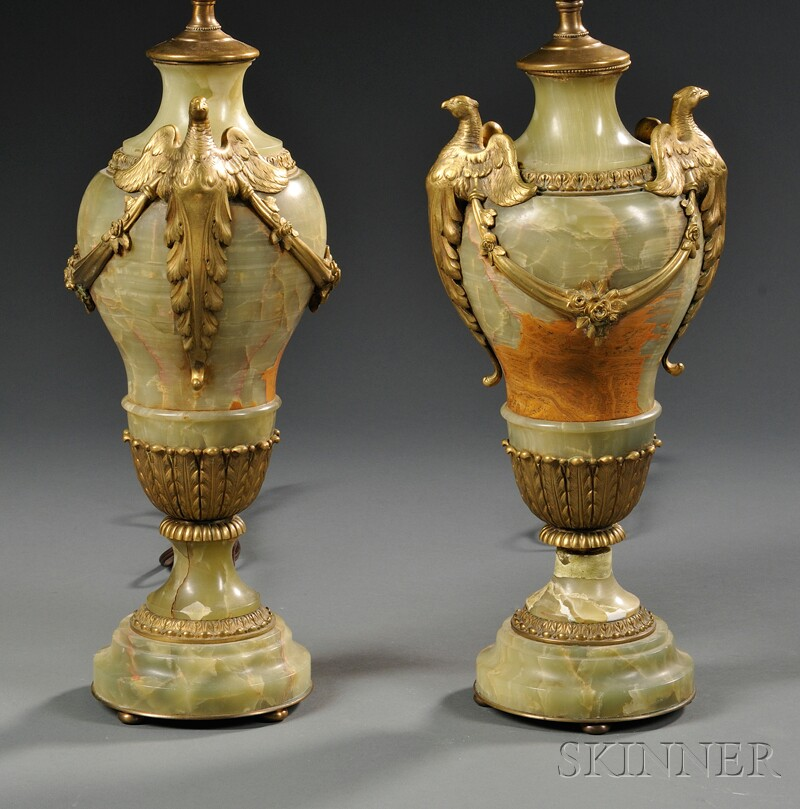 Pair of Carved Green Onyx and Gilt-mounted Lamps