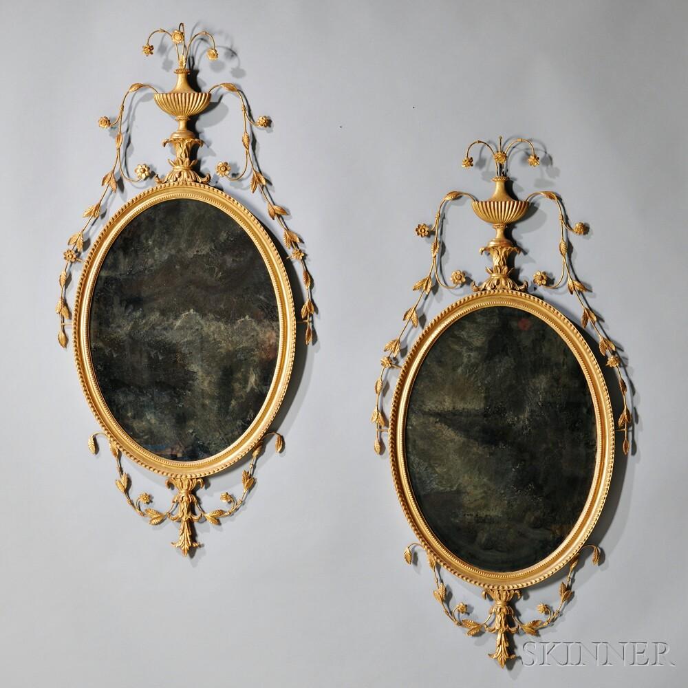 Pair of George III-style Giltwood Mirrors