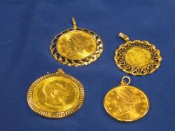 Four Gold Coin Pendants, 1904 Liberty head twenty dollar gold coin, 1895 Liberty head twenty doller gold coin, 1915 Austrian 100 Cor. g