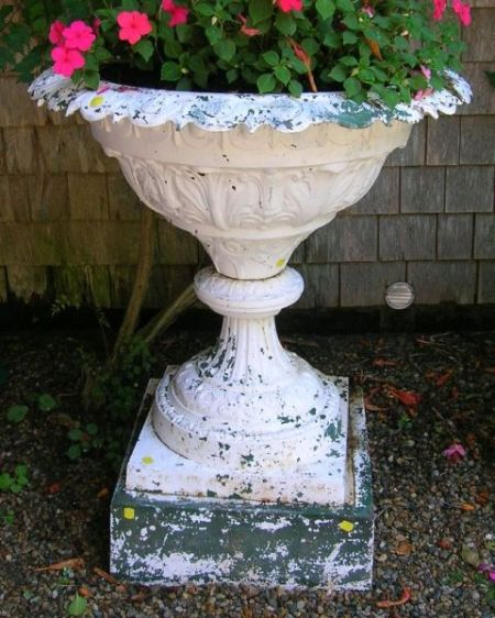 White Painted Cast Iron Palm Decorated Garden Urn with Pedestal Base