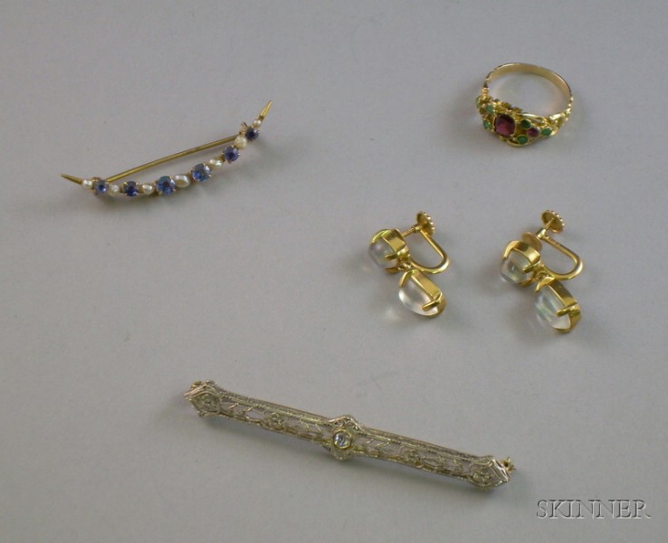 Pair of 14kt Gold and Moonstone Earrings, a Krementz 14kt Gold, Sapphire and Pearl Crescent Pin, a Taylor & Co ...