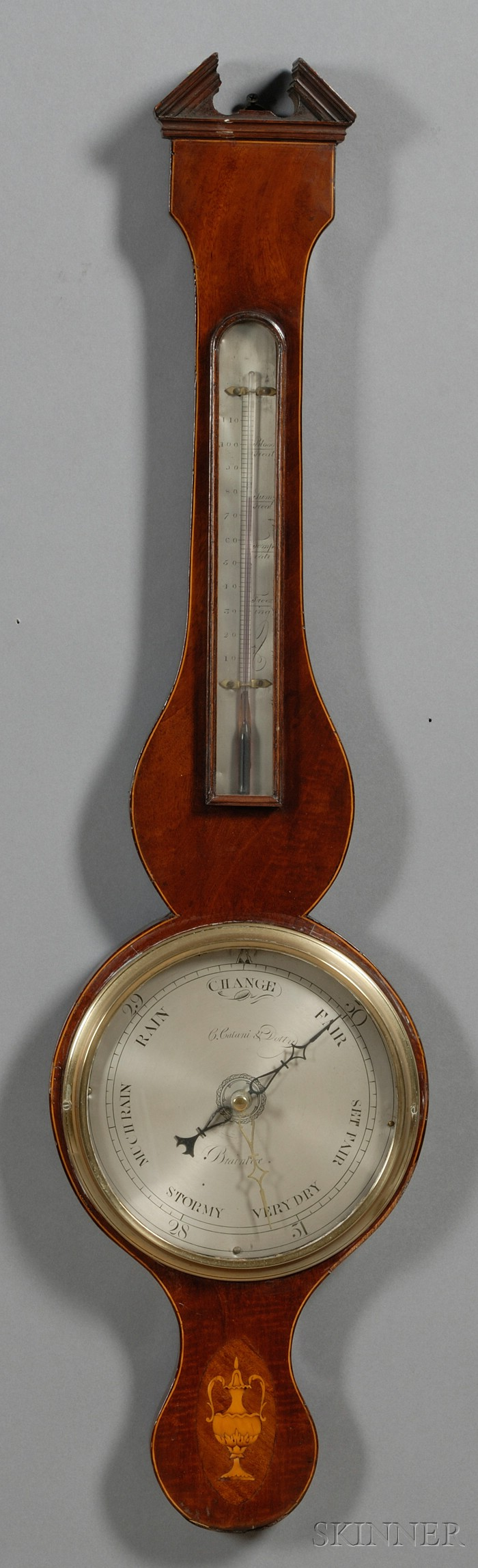 Inlaid Mahogany Veneer Wheel Barometer
