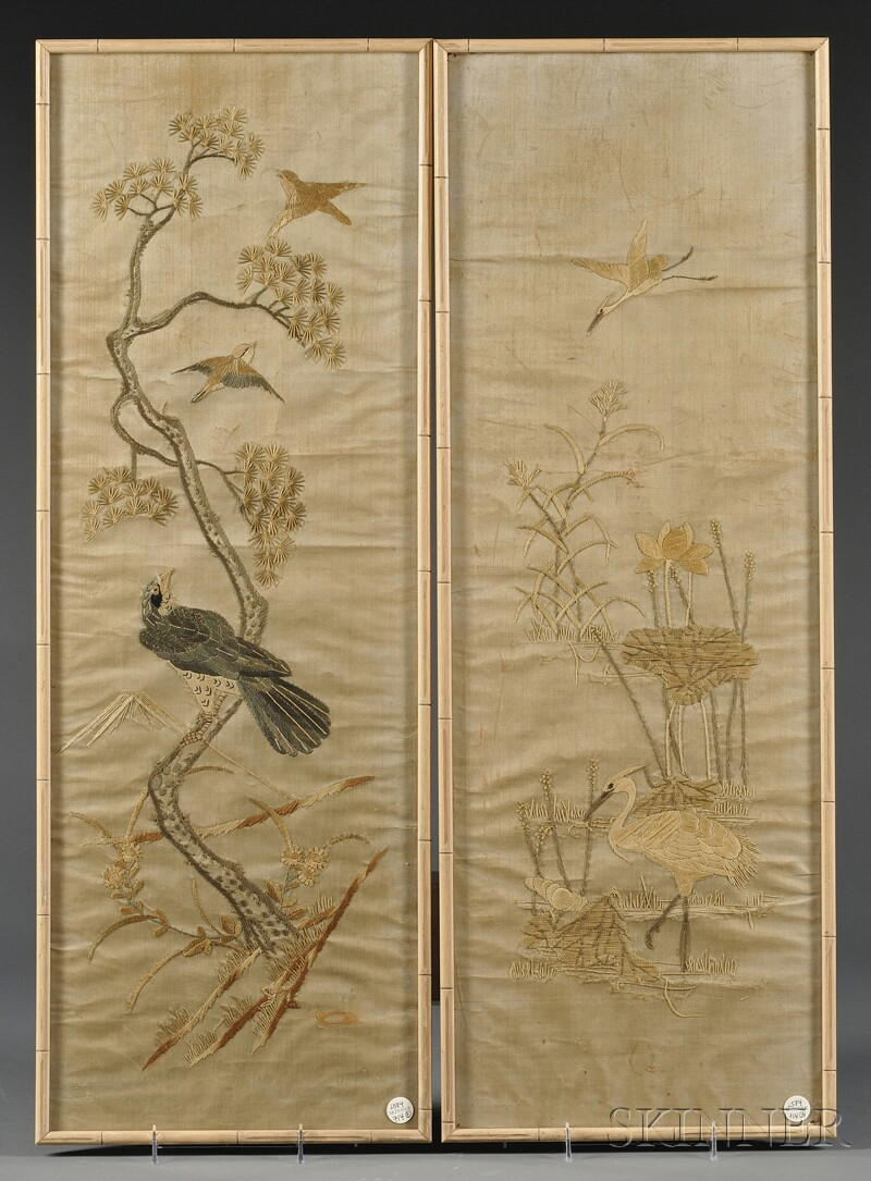 Pair of Embroidered Panels