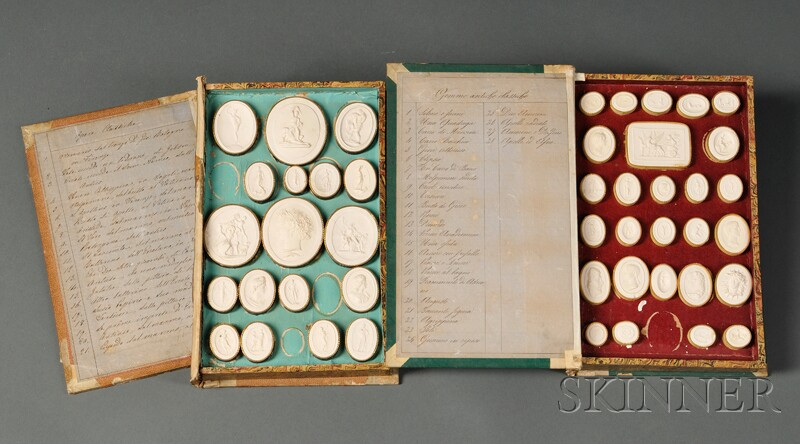 Two Book-form Boxes with Plaster Medallions