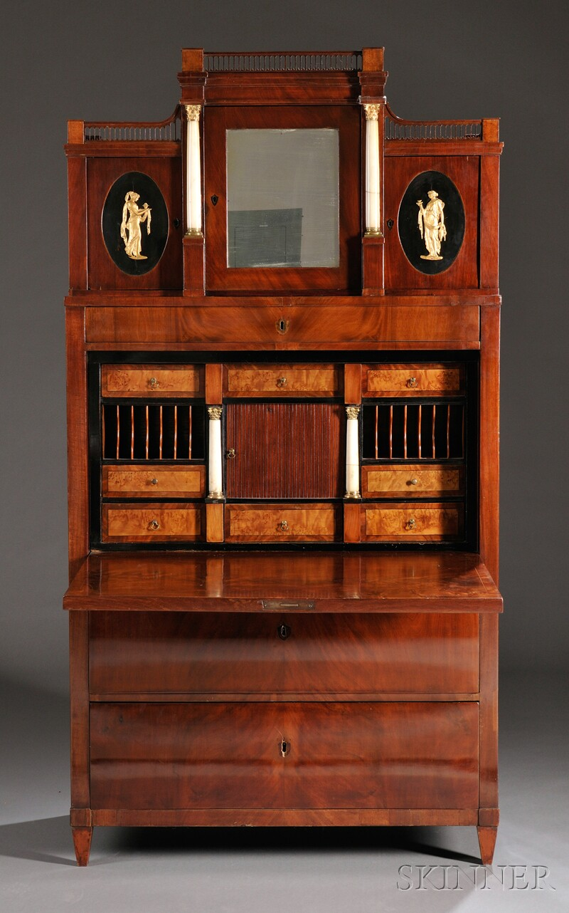 Continental Brass- and Alabaster-mounted Mahogany Veneer Secretaire Abattant