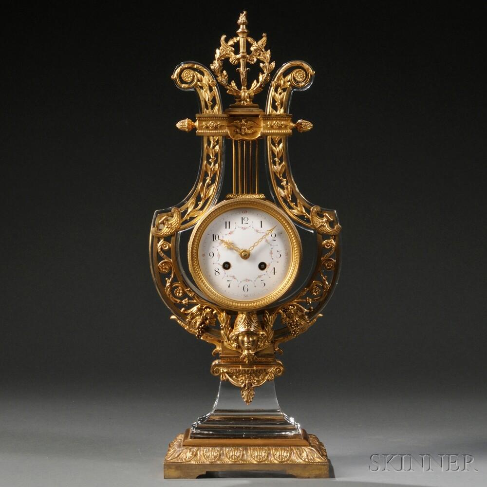 French Lyre-form Mantel Clock