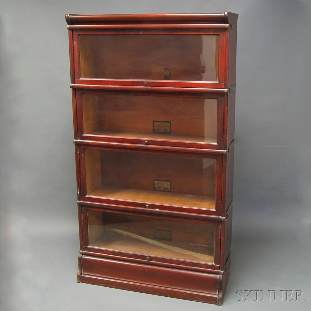 Globe-Wernicke Mahogany Four-stack Barrister Bookcase