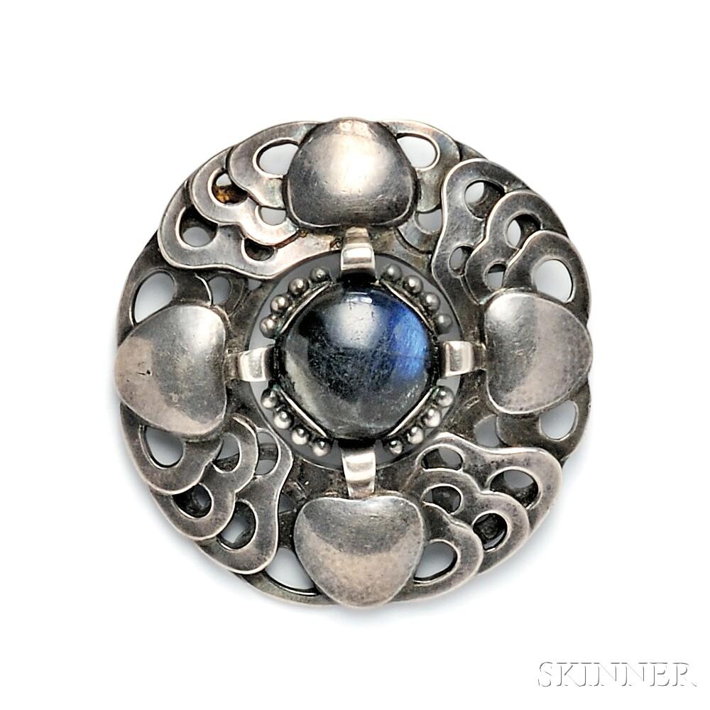 .830 Silver and Labradorite Brooch, Georg Jensen