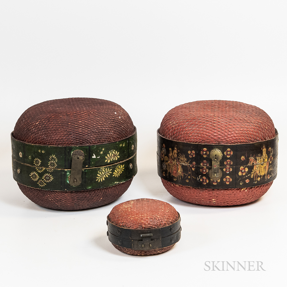Three Lacquered Hinged Baskets