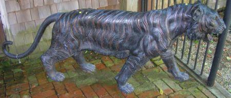 Black Painted Cast Metal Tiger Figure