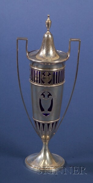 Durgin Sterling and Cobalt Glass Classical Revival Covered Urn