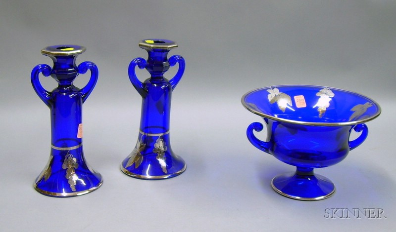 Three-piece Silver Overlaid Cobalt Glass Console Set