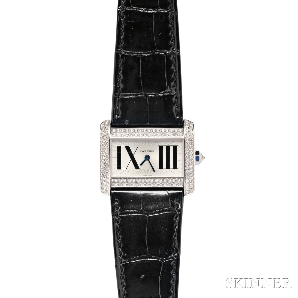 "Lady's 18kt White Gold and Diamond ""Tank Divan"" Wristwatch, Cartier"