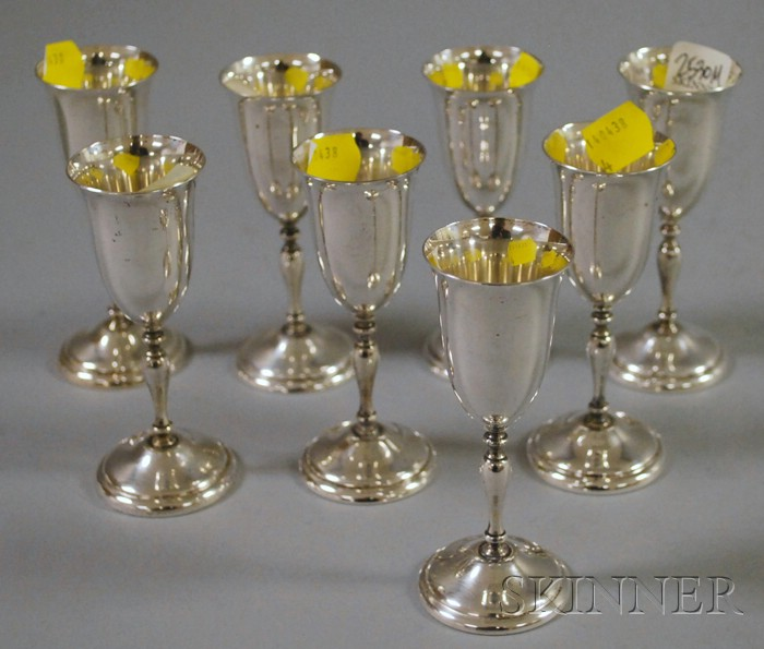 Set of Eight Randahl Sterling Silver Cordials