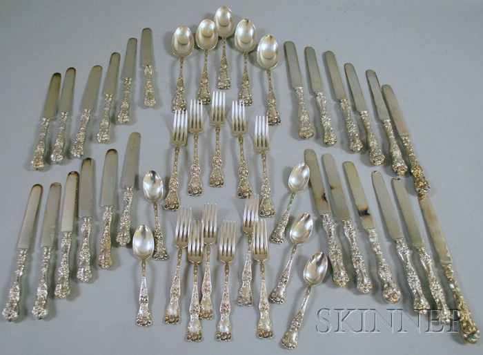 American Sterling Partial Sterling Silver Rose Patterned Flatware Set