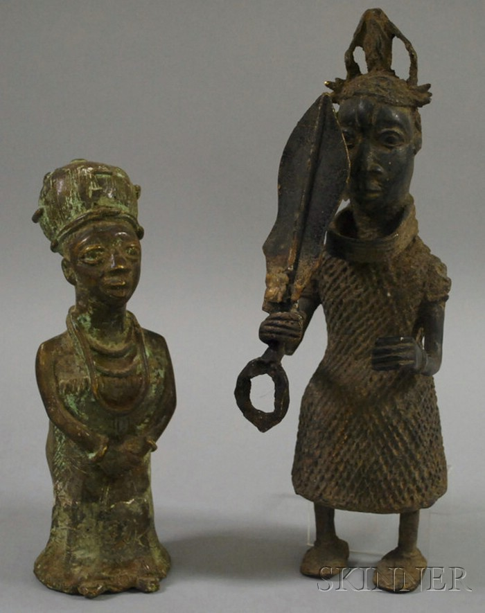 Two Benin Bronze Court Royal Figures