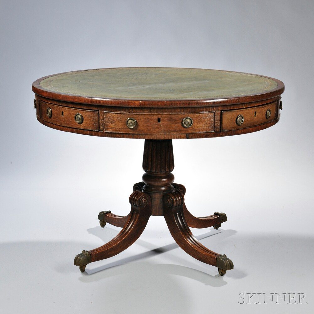 Regency-style Oak Drum Table