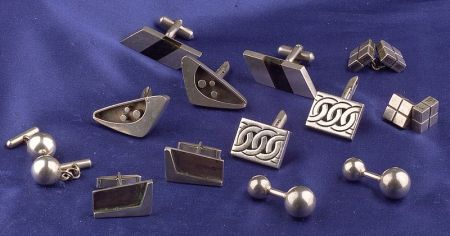 Seven Pairs of Mexican Silver Cuff Links