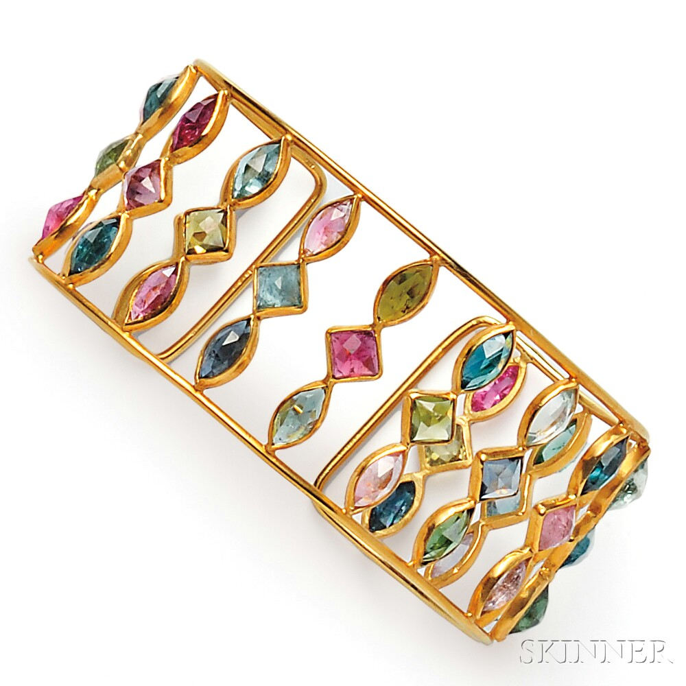 18kt Gold Gem-set Cuff, Adelline