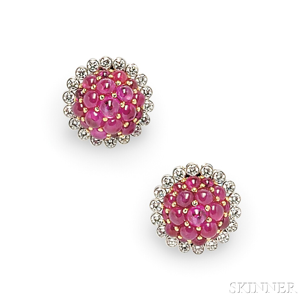18kt White Gold, Ruby, and Diamond Earclips, Aletto Bros.