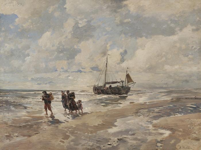 Gregor von Bochmann the Elder (German, 1850-1930)      Shore View with Fisherfolk, Ketch, and Horse Cart