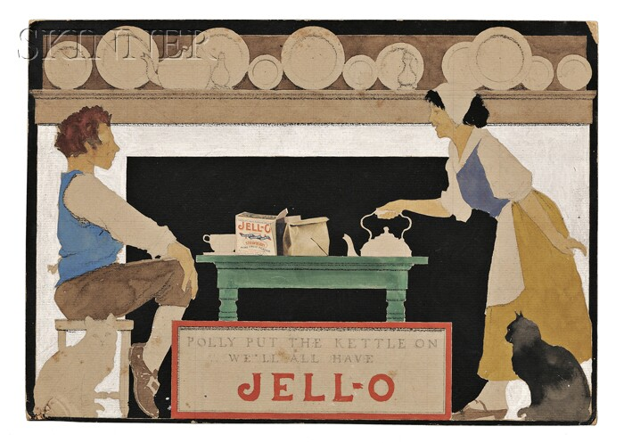 Maxfield Frederick Parrish (American, 1870-1966)      POLLY PUT THE KETTLE ON WE'LL ALL HAVE JELL-O  /A Study for an Advertisement
