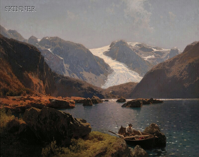 Hermann Ottomar Herzog (German/American, 1832-1932)      Fisherman on a Mountain Lake