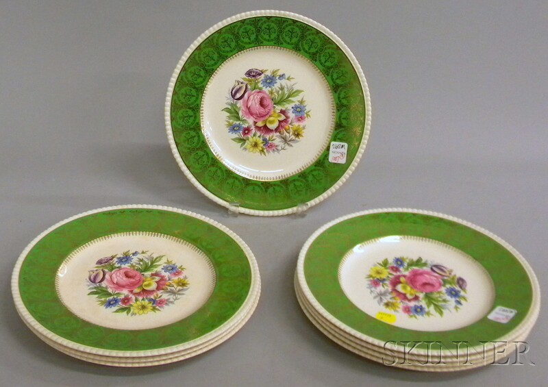 Set of Eight Simpsons Solian Ware Gilt and Transfer Floral-decorated Ceramic Dinner Plates.