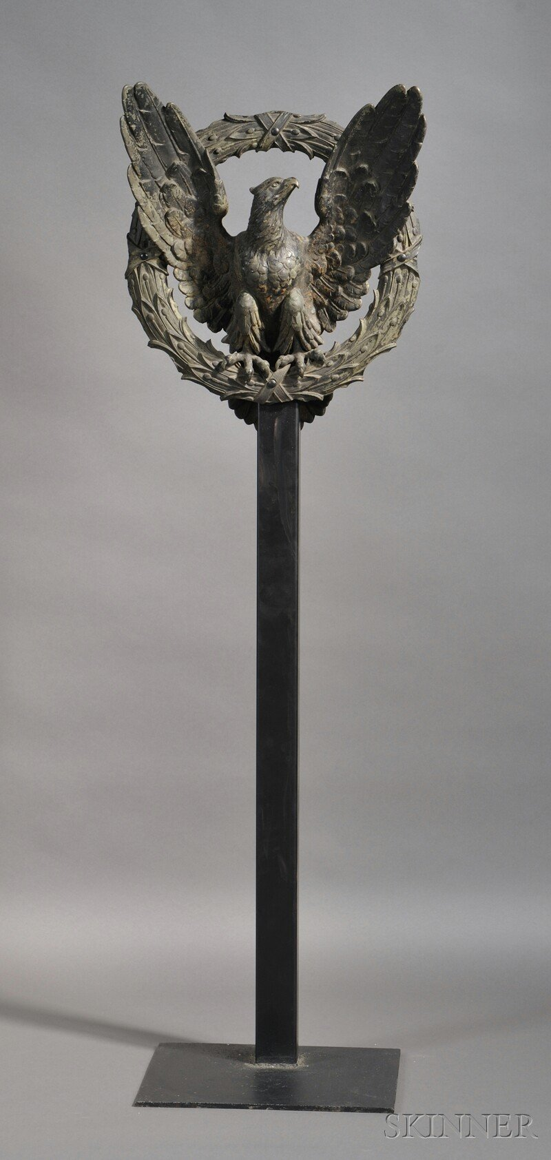 Large Cast Bronze Eagle and Laurel Wreath on Stand