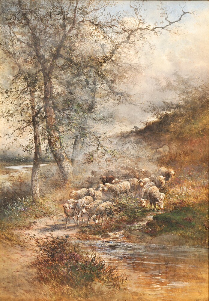 Hugo Anton Fisher (Czechoslovakian/American, 1854-1916)      Shepherd with His Flock.