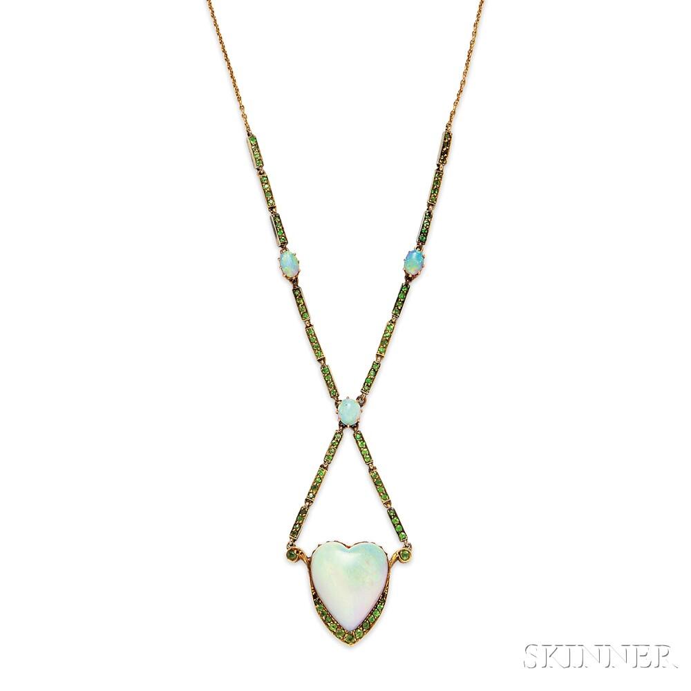Antique 15kt Gold, Opal, and Demantoid Garnet Necklace