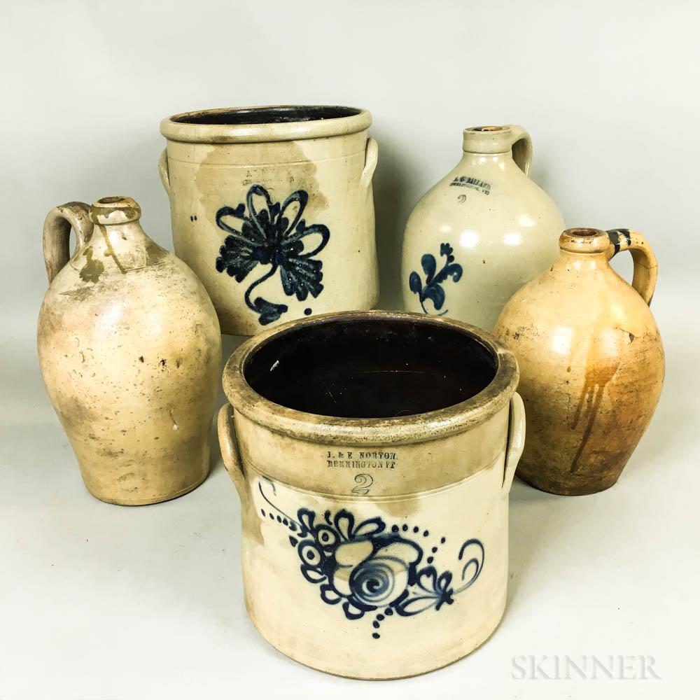 Five Stoneware Jugs and Crocks