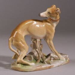 Jacob Petit Porcelain Figure of Greyhound