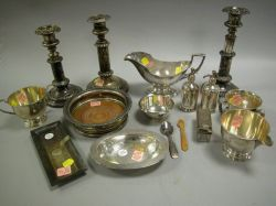 Fifteen Pieces of Sterling and Plated Silver Table Items